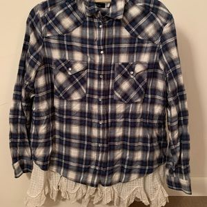 BDG brand navy plaid flannel